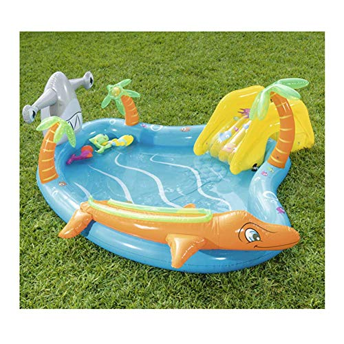 LQH Inflatable Swimming Pool, Wading Pool, Kiddie Paddling Pool, with Slide And Water Spray, 110times;101times;34In, for Kids for Garden, Backyard,Summer Water Party,Without foot pump