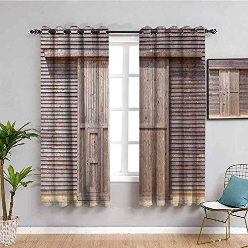 Industrial Kids Curtain Old Wooden Timber Oak Barn Door Farmhouse Countryside Rural House Village Artsy Print Soundproof Shade W84 x L84 Inch Brown