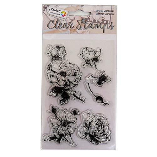 Craft Sensations klar Dekorative Briefmarken–Blumen Thema