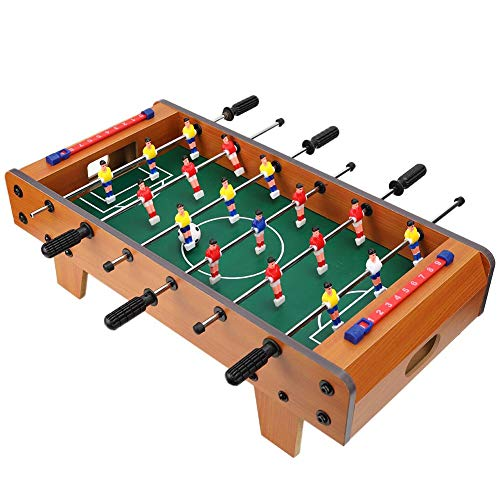 Table Soccer,Foosball Tabletop Games and Accessories,Portable Multi Person Foosball Soccer for Game Rooms, Arcades, Bars, for kids,Adults, Family Night - Enjoy the Fun(Wood Color)