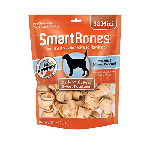 SmartBones Mini Chews with Real Sweet Potato 32 Count, Rawhide-Free Chews for Dogs