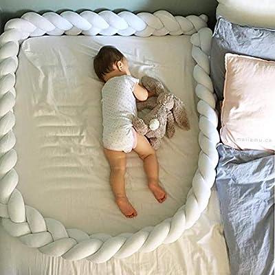 LOAOL Baby Crib Bumper Knotted Braided Plush Nursery Cradle Decor Newborn Gift Pillow Cushion Junior Bed Sleep Bumper (2 Meters, White)