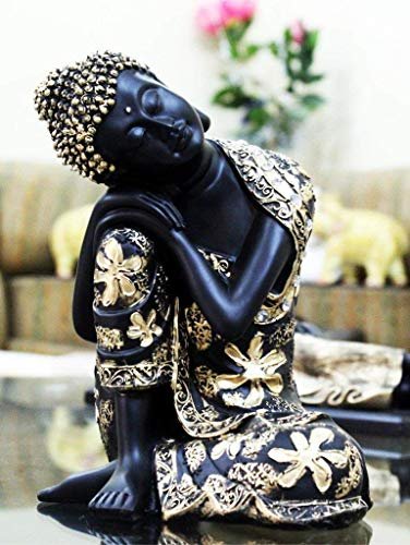 Global Grabbers Black Golden Thinking Lord Buddha Showpiece Black Golden