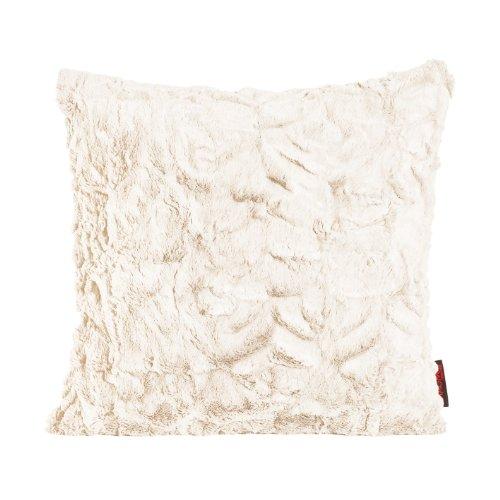 MAGMA Fluffy Kissenhülle ca. 50 x 50 cm kuschelweicher Plüsch in Felloptik (02 Weiss) 1 Stück