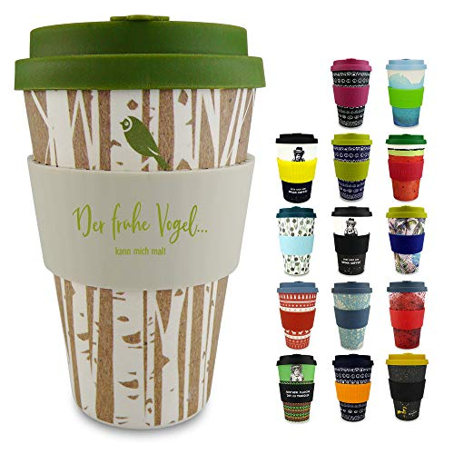Morgenheld Dein trendiger Bambusbecher | Coffee-to-Go-Becher | Kaffeebecher mit Silikondeckel und Banderole in coolem Design 400 ml (Forest)