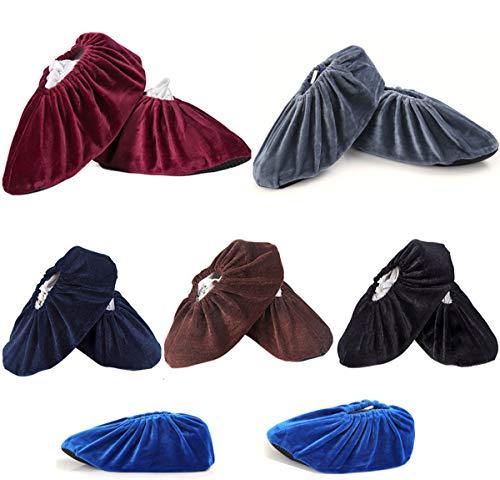 Yueser Antideslizantes Transpirables Cubrezapatos, 6 Pares Reutilizable Zapatos con Franela para el Hogar la Oficina y la Sala de Máquinas