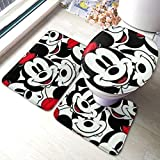 ALBXSWRR Mickey Mouse Badteppich 3-teiliges Set Badteppich Set Weiche Anti-Rutsch-Pads Badematte +...
