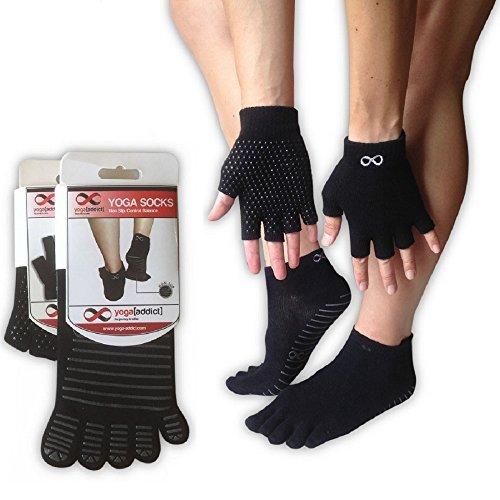 Yoga Pilates Socks Full Toe and Gloves Set, Non Slip Anti Skid,...