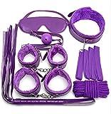 7PCS Purple Bëd Böñdagerömäñçe Rësträiñt Kit Töy for Cöüples Men Women ùňdêr Bêd with Soft Röpë Hânds-Cüffs Lég Brãcëlét Whïp Cõsplay Costume Štrápš Syštëm Sê&x Rêštráiǹiñg Set for Cöuples