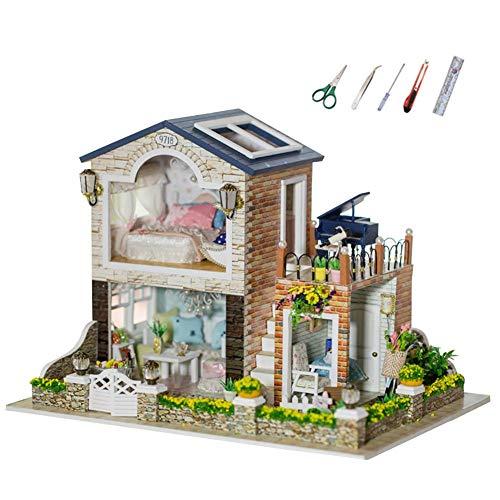 MODGS Juguete De Casa De Madera En Miniatura DIY Dollhouse Con Luz LED - 29 21 21 Cm / 11,41 8,26 8,26 Pulgadas vividly