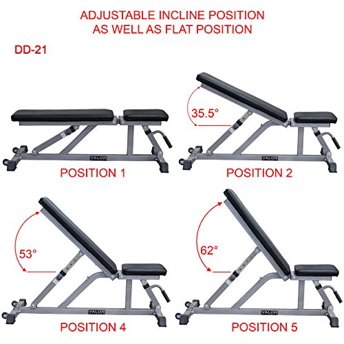 Valor Fitness Adjustable Weight Bench for Flat or Incline Bench Press with Wheels DD-21 Workout Benches for Home