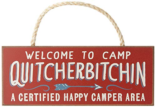 Product Image 1: Welcome to Camp Quitcherbitchin – 4×10 Hanging Wooden Sign by My Word!