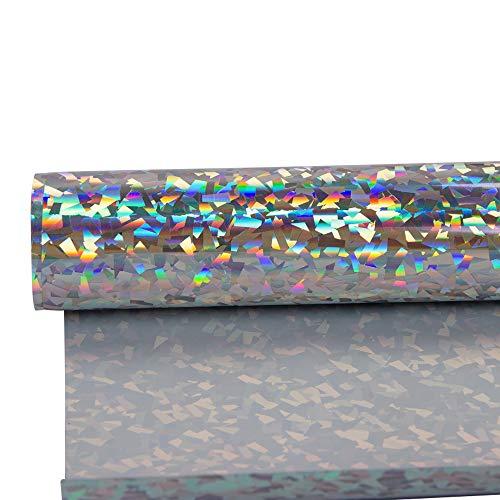 HOHOFILM 21 cm x 30 cm Holographic Crystal Silver Heat Transfer Vinyl Film HTV Vinyl DIY T-Shirt Kleidung