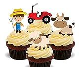 Made4You Farmer, animales de granja y tractor, adornos comestibles para magdalenas para niños, decoración de obleas de pie (paquete de 12)