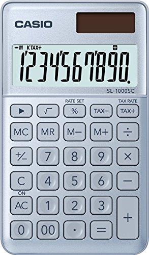 CASIO Taschenrechner SL-1000SC, 10-stellig, stylische Farben, Steuerberechnung, Aluminiumfront, Solar-/Batteriebetrieb