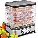 Deshidratador con regulación de temperatura, 8 niveles, deshidratador extraíble, regulación de temperatura 35-70 ℃ para carne, frutas, verduras y nueces, 400 W, button, sin BPA