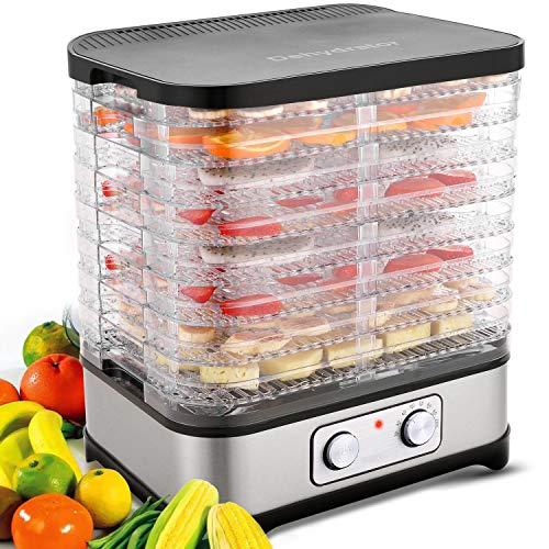 Dörrautomat Dehydrator Dörrapparat mit Temperaturregelung, 8 Etagen abnehmbare Dörrgerät, Temperaturregelung 35-70℃ für Fleisch, Früchte, Gemüse und Nüsse, 400W, Button, BPA-frei