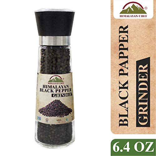 Himalayan Chef Black Pepper Grinder, 6.4 Ounce, 100% Whole black peppercorn