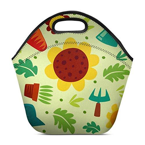Funny Z Neopren Lunch Bag Sonnenblumen Gabel Blatt Gießkanne Hut isoliert Lunch Box Handtasche