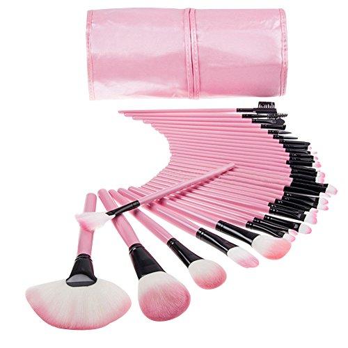 NiSeng 32 Pinceaux Maquillage Professionnel Set Brosses Cosmétiques Eyebrow Shadow Blush avec Pochette de Voyage Pink