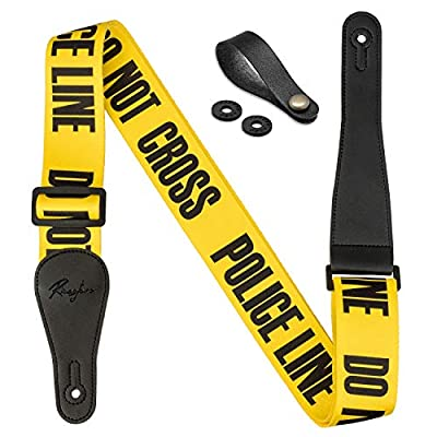 """Rinastore Guitar Strap Yellow""""POLICE LINE"""" Includes Strap Button & 2 Strap Locks For Bass, Electric & Acoustic Guitars"""