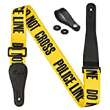 Rinastore Guitar Strap Yellow'POLICE LINE' Includes Strap Button & 2 Strap Locks Shoulder Straps For Bass, Electric & Acoustic Guitars (Yellow)