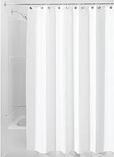 iDesign Fabric Shower Curtain, Mildew-Resistant Bath Curtain for Master Bathroom, Kid's Bathroom, Guest Bathroom, 54 x 78 Inches, White