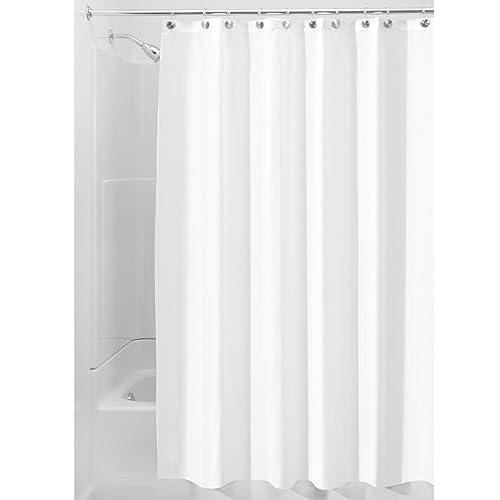 InterDesign Fabric Shower Curtain Modern Mildew Resistant Bath Liner For Master Kids