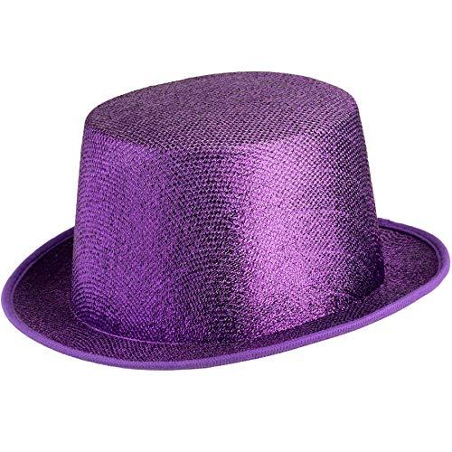 dressforfun 901029 Unisex Glitzer Zylinder Show Hut, nach Oben gewölbte Krempe, stabile Form - Diverse Farben - (lila | Nr. 304587)