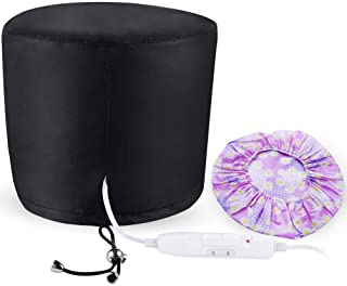 PRETTY SEE Hair Steamer Cap Beauty Steamer Nourishing Hat Hair Thermal Treatment Cap with 3 Mode Temperature Control,Black