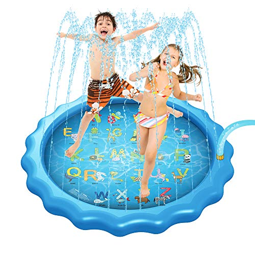 Rynal 3-in-1 Splash Pad Kids Sprinkler Toddler Wading Pool - 68'' Inflatable Outdoor Water Play Sprinkler for Baby & Toddler Water Mat Letters Learning from A to Z