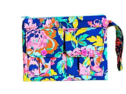 Gretchen Blue Floral Wristlet, Wallet Wristlet for Women, Wristlet Purse, Smartphone Wristlet