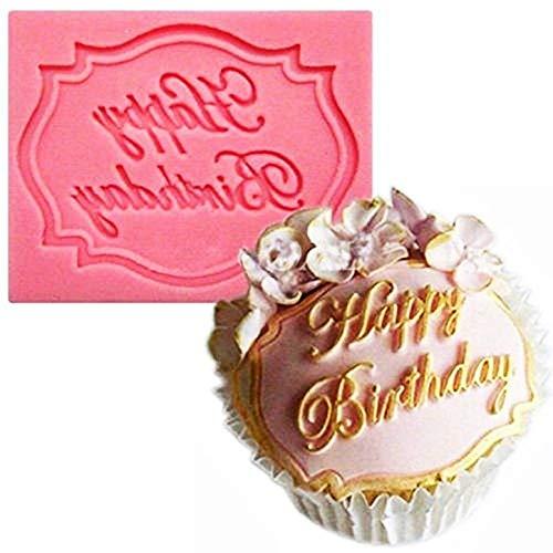 KIRALOVE Molde de Silicona - Pasteles - Feliz cumpleaños - Feliz cumpleaños - Idea de Regalo - Pasta de azúcar - Tortitas de Magdalenas - Cocina - hágalo Usted Mismo - Uso de Alimentos Happy Birthday