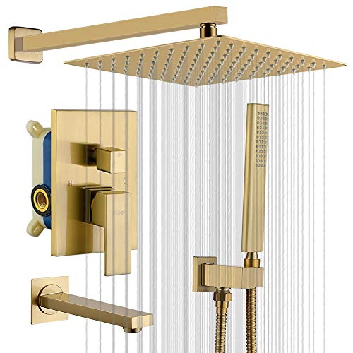 IRIBER Shower System with Waterfall Tub Spout 3 Function Shower Faucet Set Gold Brushed Shower Trim Kit with 12 Inch Rain Shower Head and Handheld, Champagne Bronze