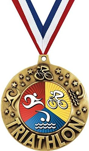 Crown Awards Free shipping on posting reviews Gold Triathlon Medals - latest Triathlo 1 2 4