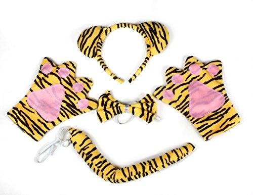 Petitebelle Kostüm-Zubehör für Kinder, Tiger-Design, Haarreifen, Fliege, Handschuhe und Schwanz, 4-teiliges Set für Halloween Gr. One size, Orange