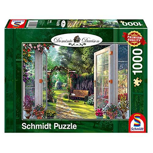 Schmidt Spiele Puzzle 59592 Dominic Davison, Blick in den Verwunschenen Garten, 1000 Teile