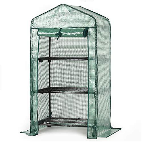 Sekey Serra da Giardino per Piante, Serre in plastica con 3 Ripiani in Acciaio zincato, 69 x 49 x 125 cm,Verde