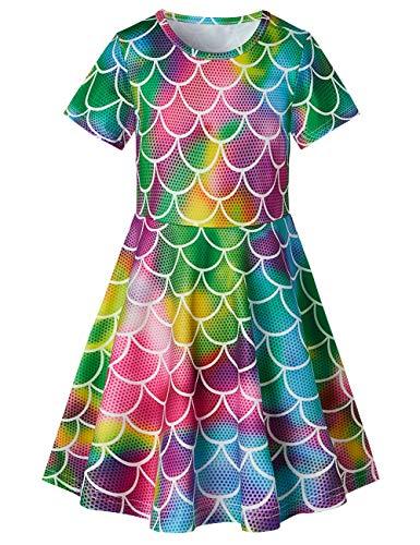 RAISEVERN Toddler Girls Short Sleeve Dress Rainbow Mermaid Fish Scale Dress Print Summer Dress Casual Swing Holiday Birthday Theme Party Sundress Toddler Kids Twirly Skirt 8-9 Years