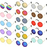 16 Pairs Round Hippie Glasses Colorful Retro Hippie Glasses 60's Style Circle Glasses for Party Favors (Rainbow Color Set)