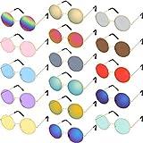 Fiada 16 Paia Occhiali da Sole Hippy Tondi Colorati Occhiali da Sole Hippy di Stile Anni 60 Occhiali da Cerchio Stile per Bomboniere (Set di Colori Arcobaleno)