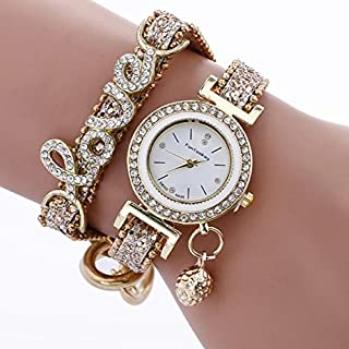 Jewelry & Watch Alloy Diamond Love Letter Bracelet Watch for Women(Black) Leather Strap Watches (Color : Beige)