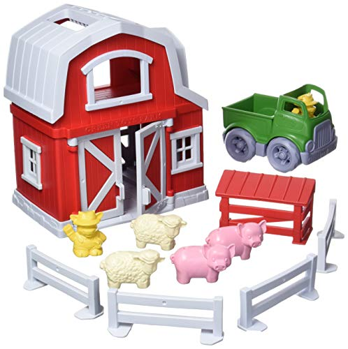 Green Toys Farm Playset  CB - 13 Piece Pretend Play  Motor Skills  Language & Communication Kids Role Play Toy. No BPA  phthalates  PVC. Dishwasher Safe  Recycled Plastic  Made in USA.