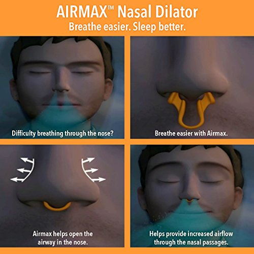 AIRMAX Nasal Dilator for Better Sleep - Natural, Comfortable, Anti Snoring Device, Snoring Solution for Maximum Airflow & Easier Breathing (Medium - Clear)