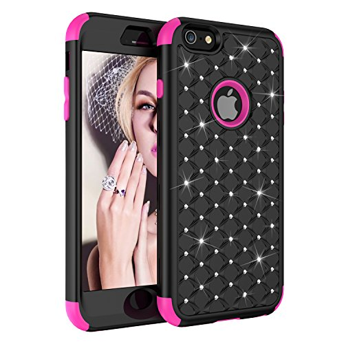 iPhone 6 Case,iPhone 6S Case,UZER 3in1 Shockproof Luxury Glitter Sparkle 3D Bling Hard PC Soft Silicone Combo Hybrid Impact Defender Full-Body Protective Case Cover for iPhone 6 6S 4.7 Inch