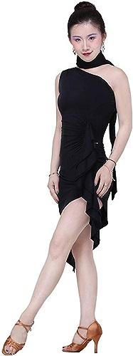 LXYFMS Costume de Danse Costume de Danse Femme Adulte Porter des vêtements épaule Oblique Jupe de Danse Latine Exercice vêtements (Couleur   noir, Taille   L)