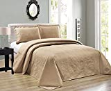 Elegant Home Beautiful Over Sized Taupe Solid Color Embossed Floral Striped 3 Piece King/California King Size Coverlet Bedspread (King/Cal-King, Taupe)