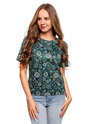 oodji Ultra Mujer Camiseta Recta de Tejido Texturizado, Verde, ES 40 / M