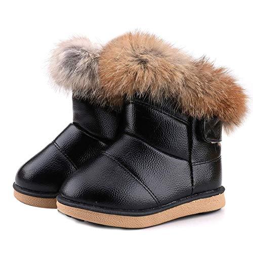 WYSBAOSHU Niña Invierno Botas de Nieve Cuero de PU Zapatos(19 EU/21 CN,Negro)
