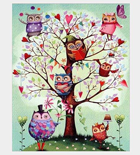 AMDPH Fantasy Owl Tree Zeichnung DIY 5D Diamond Painting Kits, Vollbohrkristallstickerei Für Anfänger Erwachsene Kunsthandwerk Handwerk Für Zuhause Wanddekoration